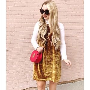 LOFT yellow gold strappy velvet swing dress